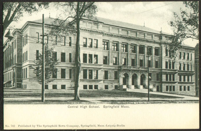 Central High School at Springfield MA undivided back postcard 1900s