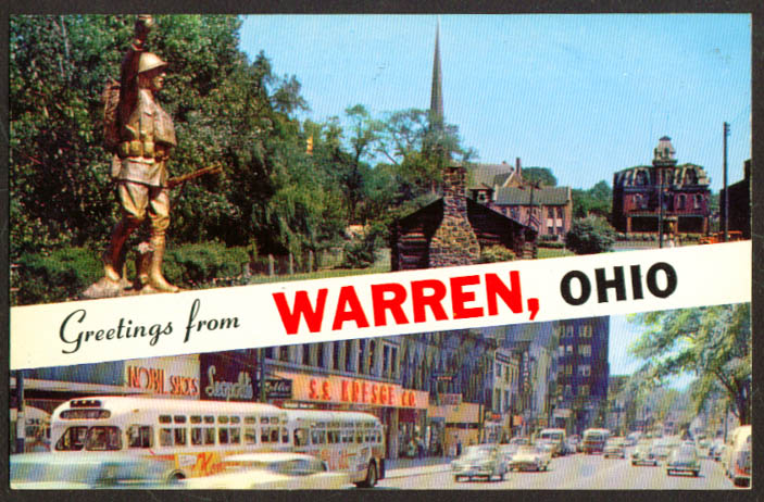 Kresge Nobil Leopold's + Warren OH postcard 1950s
