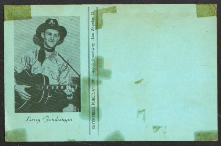 Country Music Star Larry Gondringer song postcard 1950s