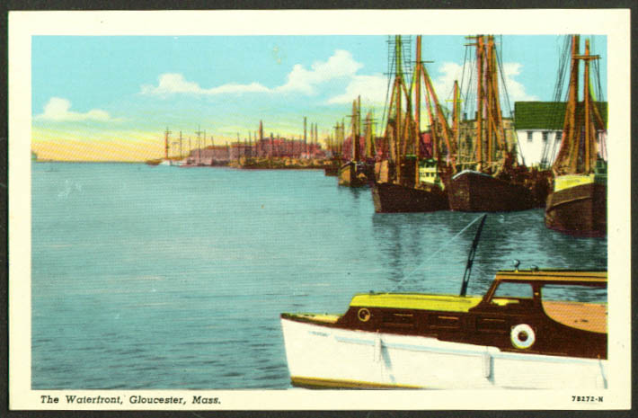 Waterfront view at Gloucester MA postcard 1930s