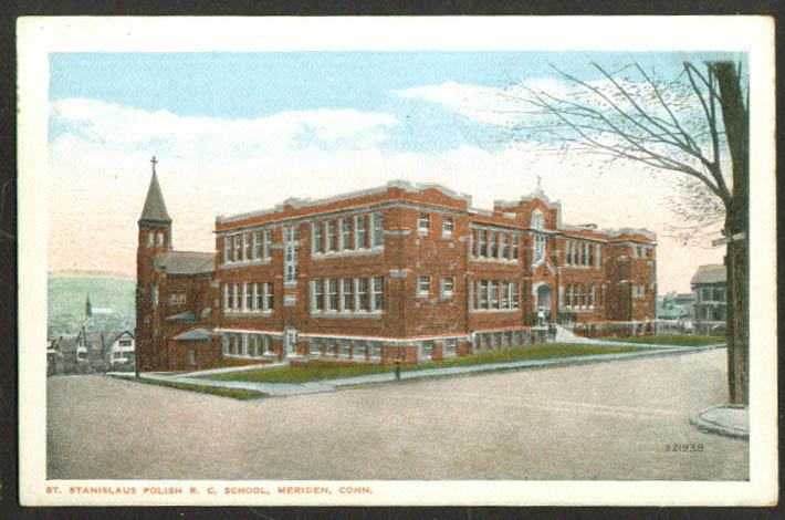 St Stanislaus Polish School Meriden CT postcard 1910s