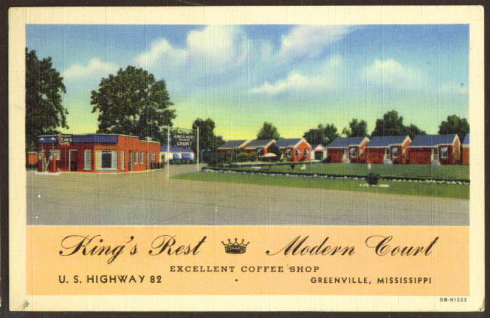 King's Rest Modern Court Greenville MS postcard 1940s