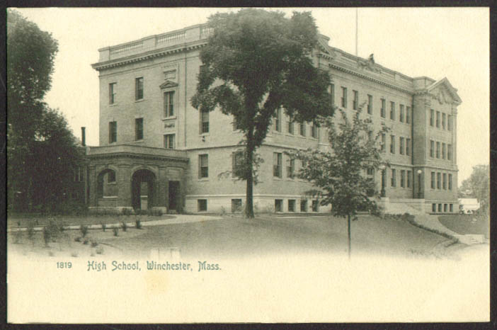 The High School at Winchester MA undivided back postcard 1900s