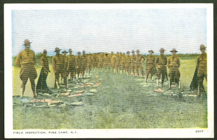 U S Army Field Inspection Pine Camp NY postcard 1910s