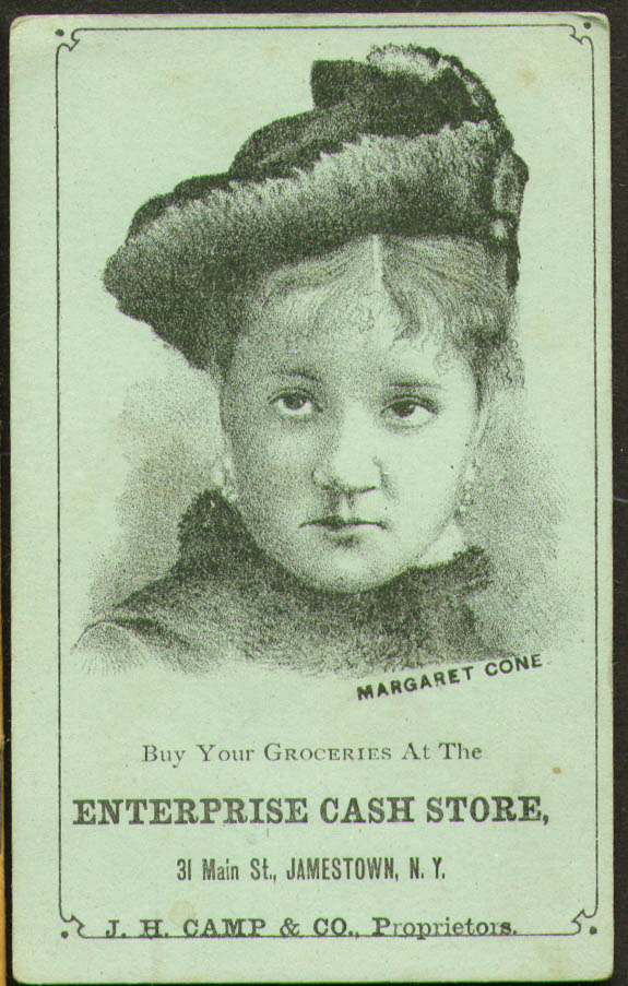 Actress Margaret Cone trade card Enterprise Cash Store Jamestown NY 1880s
