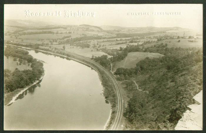 River & RR View Twin Cuts Wyalusing PA RPPC postcard 1910s