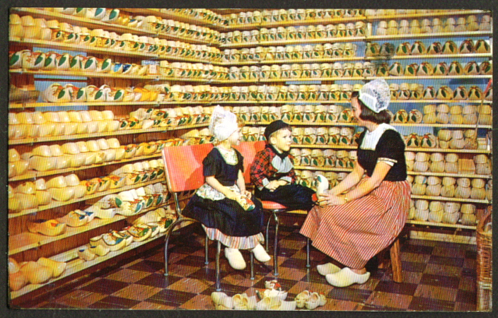 Hollands Wooden Shoe Factory Holland Mi Postcard 1960