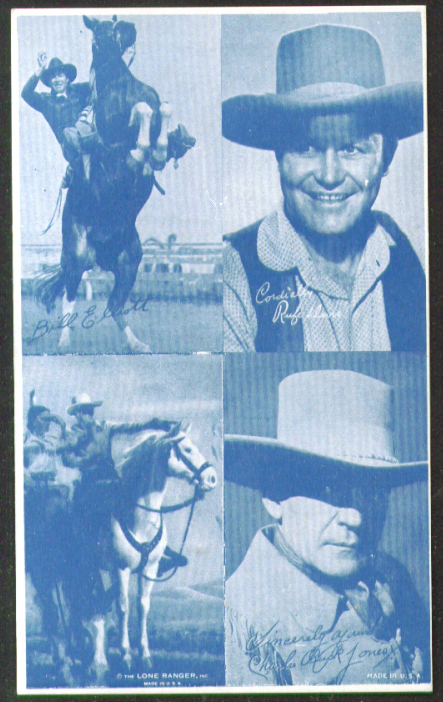 Bill Elliott Lone Ranger Rufe Davis Buck Jones arcade card 1940s