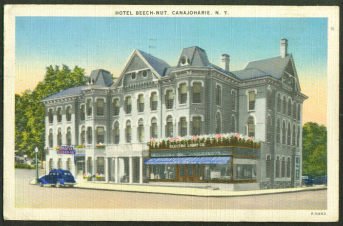 Hotel Beech-Nut Electric Co Canajoharie NY postcard 1944