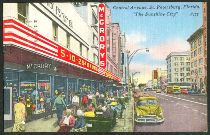 McCrory's Central Av St Petersburg FL postcard 1954