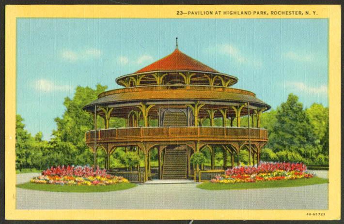 Pavilion Highland Park Rochester NY postcard 1930s