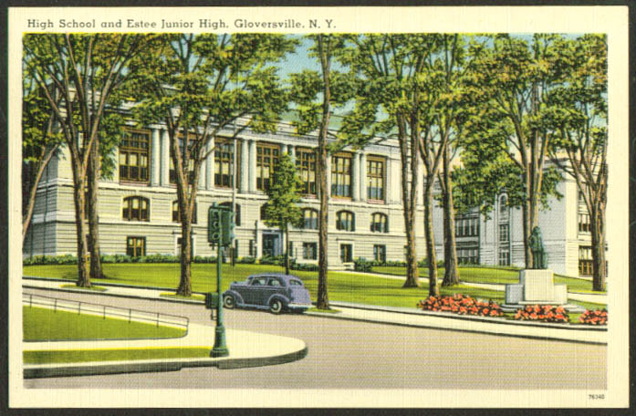 High School Estee Jr High Gloversville NY postcard 1930s