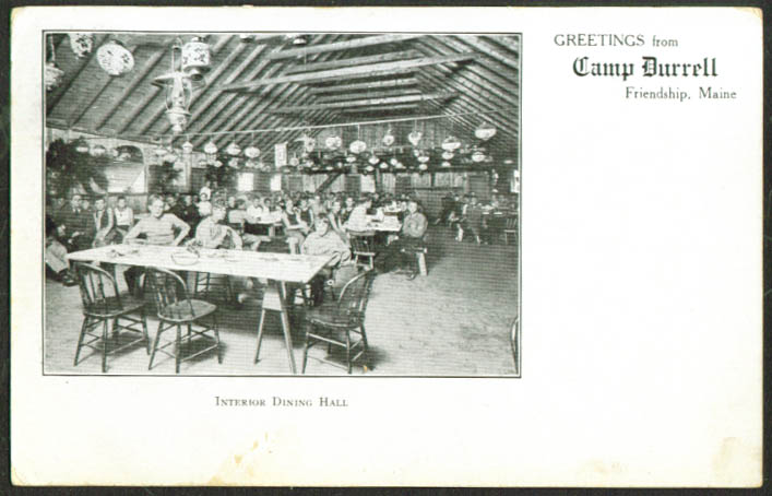 Dining room Camp Durrell Friendship ME postcard 1909