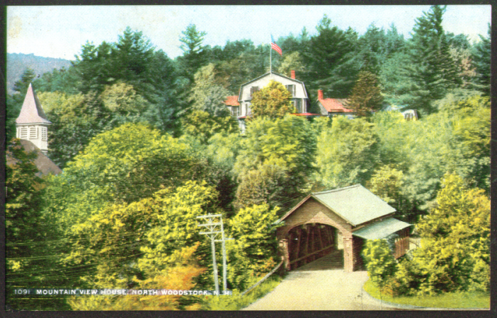 Mountain View House & Bridge North Woodstock NH postcard 1910s