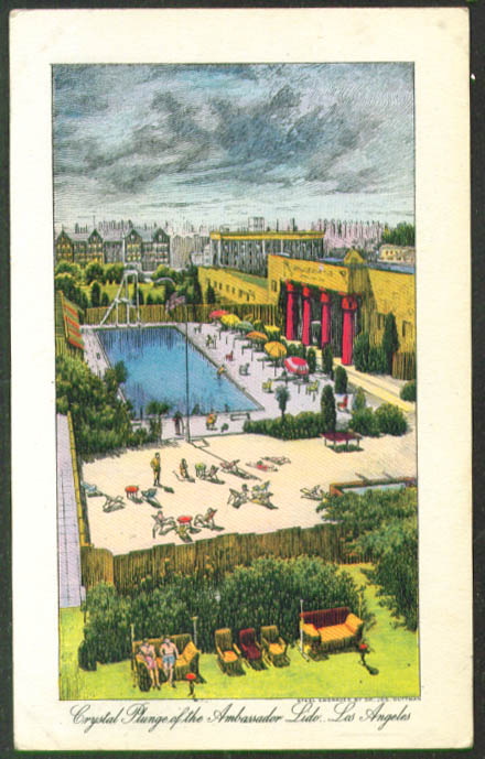 The Ambassador Crystal Plunge Los Angeles postcard 1940s