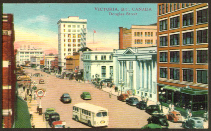 View up Douglas Street Victoria BC postcard 1940s
