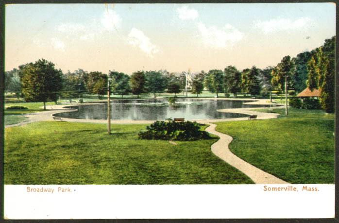 Pond in Broadway Park Somerville MA undivided back postcard 1900s