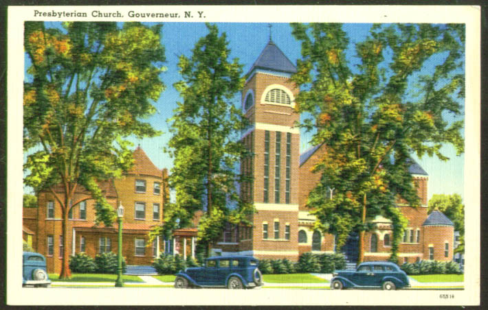The Presbyterian Church at Gouverneur NY postcard 1930s