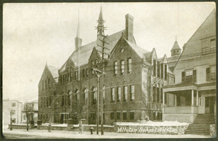 The Allston School at Allston MA undivided back postcard 1900s