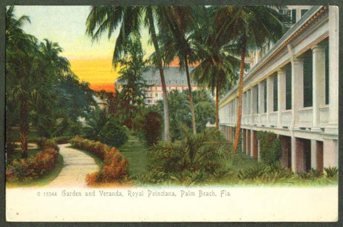 Garden Royal Poinciana Palm Beach FL undivided back postcard 1910s