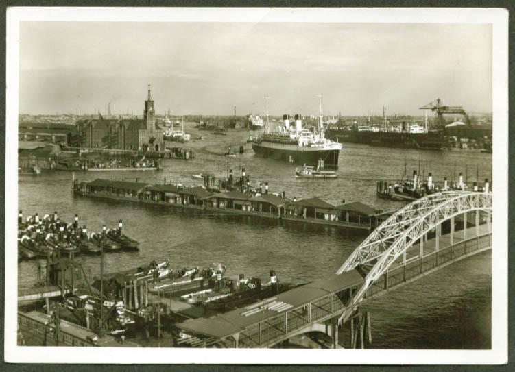 2-stack ocean liner Hamburg Germany RPPC 1930s