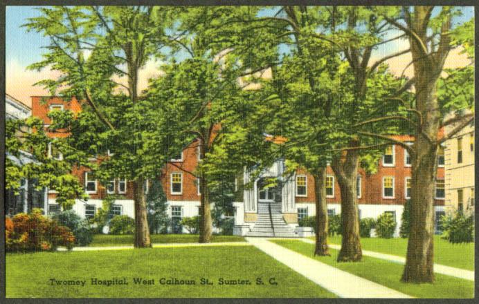Twomey Hospital W Calhoun St Sumter SC postcard 1930s