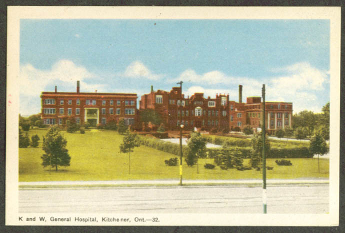 K & W General Hospital Kitchener ON postcard 1940s