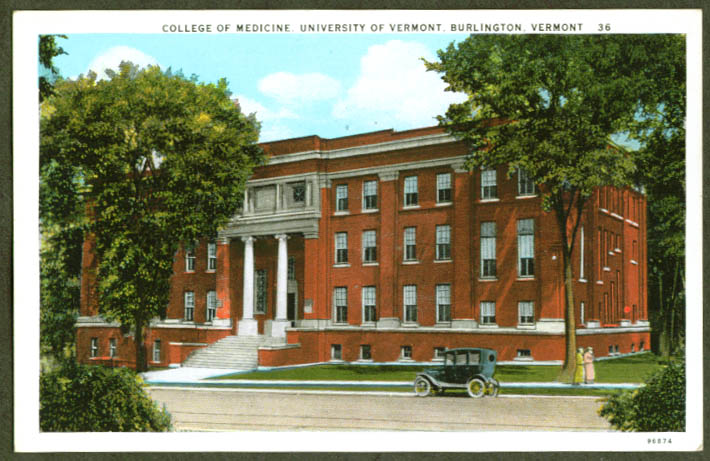College of Medicine University of Vermont Burlington postcard 1930