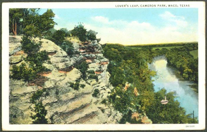 Lovers Leap Cameron Park Waco TX postcard 1920s