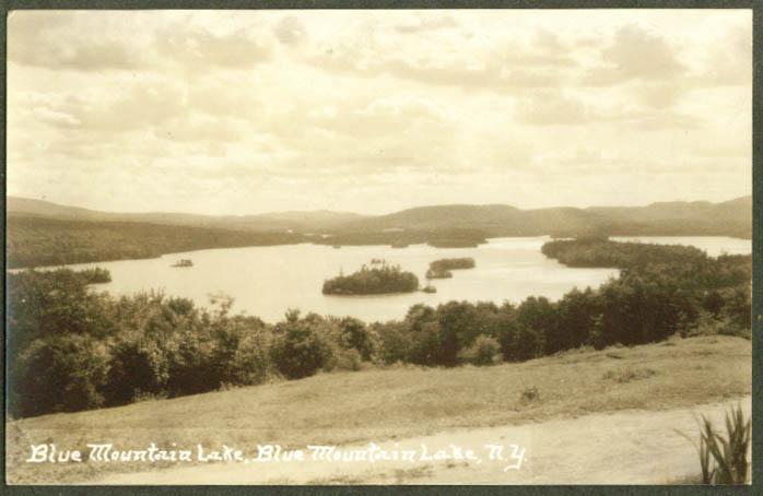 Panorama of Blue Mountain Lake NY RPPC postcard 1910s