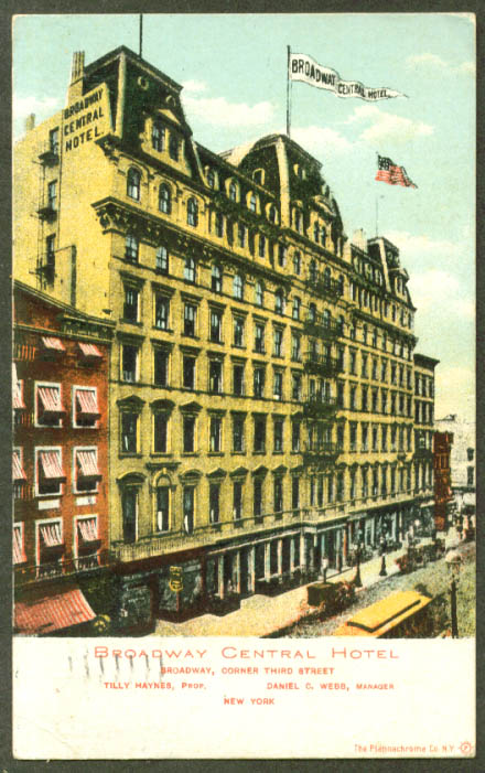 Broadway Central Hotel New York City postcard 1907