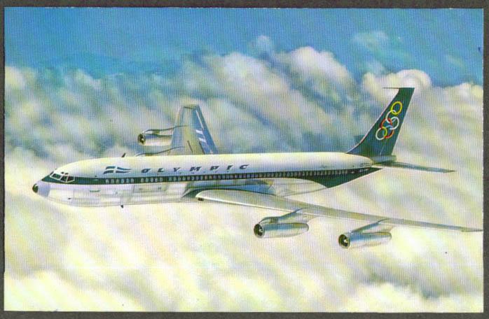 Olympic Airways Boeing 707-320 Super fan jet postcard