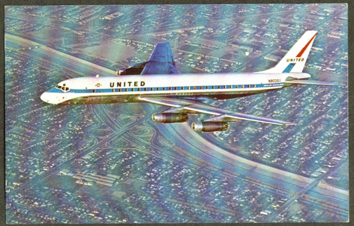 United Air Lines Douglas DC-8 postcard