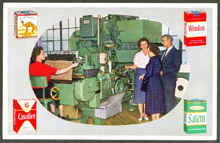 R J Reynolds Cigarette-making machine postcard 1961 NC