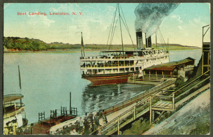 Steamer at Boat Landing Lewiston NY postcard 1913