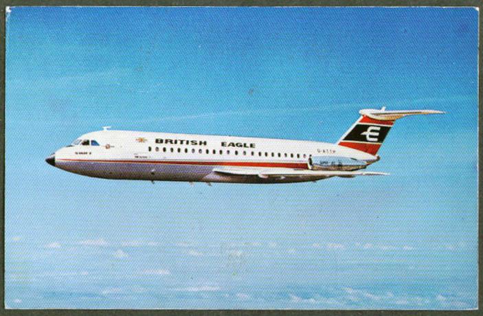 British Eagle Airlines BAC-111 Superjet postcard