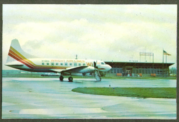 Wright Airlines Convair Springfield OH Airport postcard