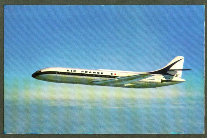 Air France Caravelle jet airliner postcard 1950s