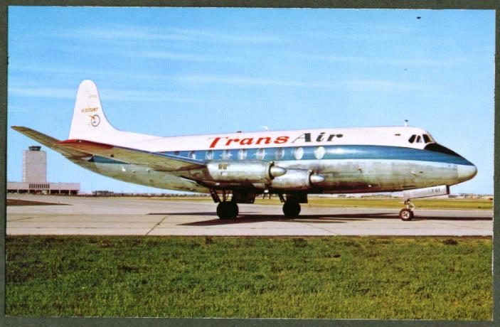 TransAir Airlines Vickers Viscount Turboprop postcard