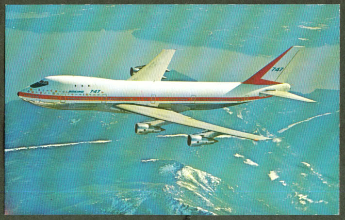 Boeing 747 jetliner manufacturer's markings postcard