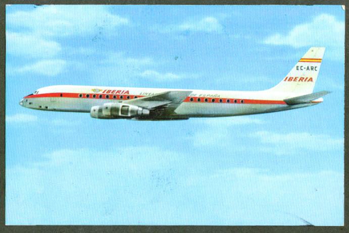 Iberia Air Lines Douglas DC-8 Turbofan postcard 1965