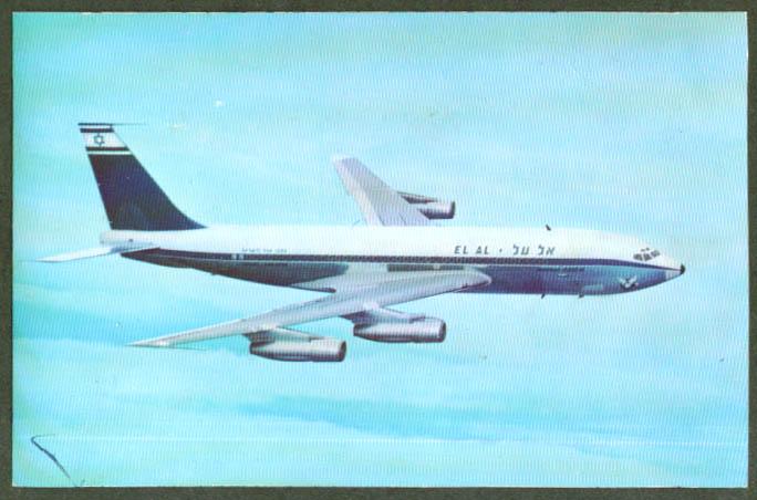 El Al Israel Airlines Boeing 720B jetliner postcard