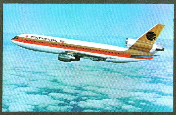 Continental Airlines Douglas DC-10 postcard