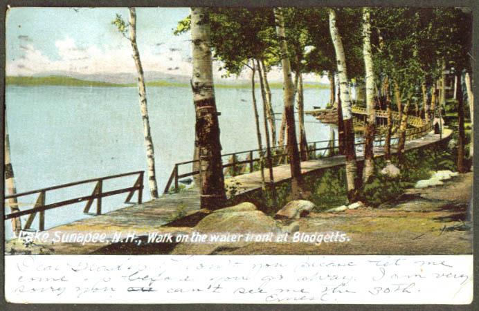 Waterfront Blodgett's Lake Sunapee NH undivided back postcard 1907
