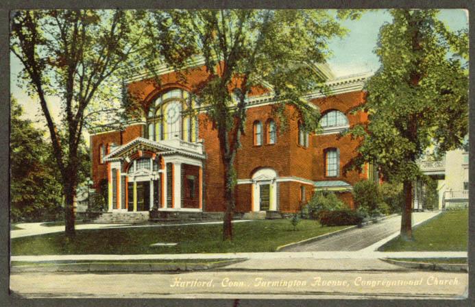 Farmington Av Congregational Hartford CT postcard 1911