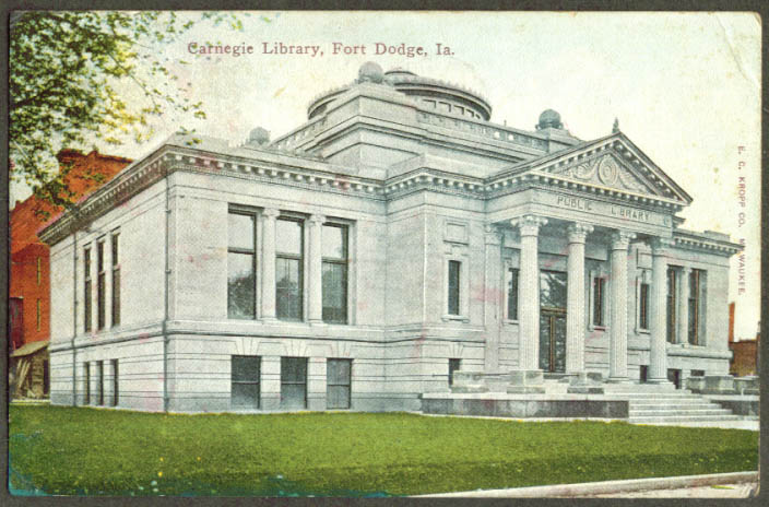 Carnegie Library at Fort Dodge IA postcard 1912