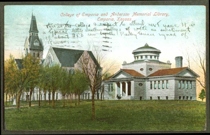 College & Anderson Library Emporia KS postcard 1908