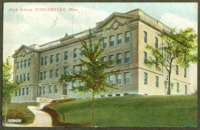 The High School at Winchester MA postcard 1910