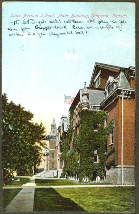 Main Building State Normal School Emporia KS postcard 1909