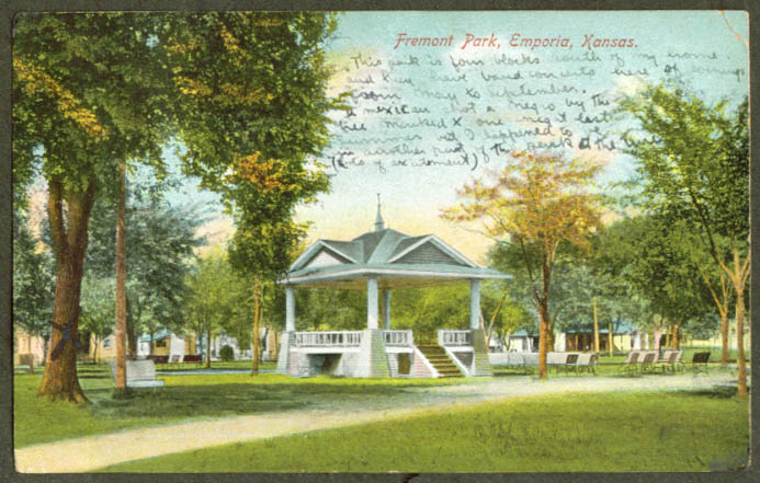 Bandstand Fremont Park Emporia KS postcard 1908